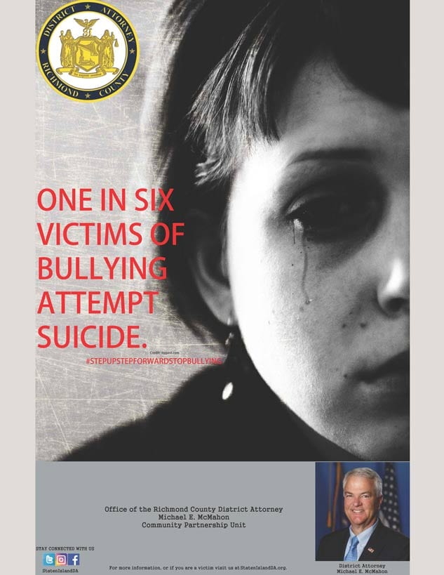 DA Michael McMahon bullying suicide poster