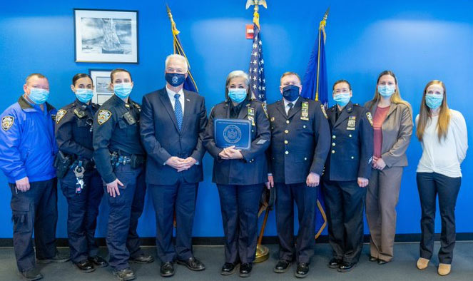 DA McMahon honors detective with more than 20 years of NYPD service