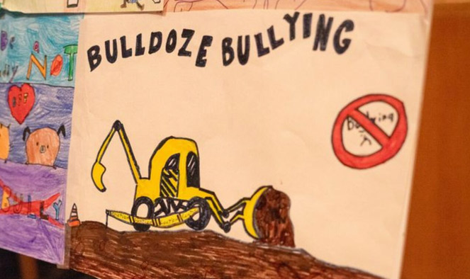 Colorful drawings are displayed inside and outside of the auditorium at CSI's Center for the Arts from the 3rd Annual Stop Bullying ceremony, April 4, 2019.