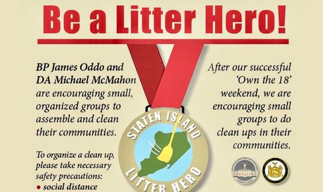 Oddo, McMahon are asking Staten Islanders to be #SILitterHeros; encourage neighborhood cleanups