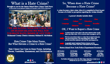 DA mcmahon with school falculty promoting youth education against hate